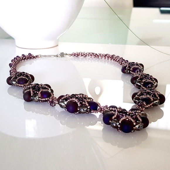 Evening Wonder - Purple Agate Gemstone Beaded Necklace | KJ-330N Handmade Necklace,  Kalitheo Jewellery,