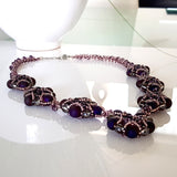 Evening Wonder - Purple Agate Gemstone Beaded Necklace | KJ-330N Handmade Necklace - Kalitheo Jewellery