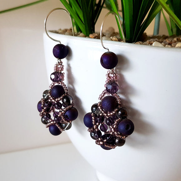 Evening Wonder- Purple Agate Beaded Earrings | KJ-330E Handmade Earrings,  Kalitheo Jewellery,