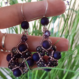 Evening Wonder- Purple Agate Beaded Earrings | KJ-330E Handmade Earrings - Kalitheo Jewellery