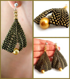 KTC-386GMS Beaded Gold Metallic Suede & Gold Pearl Statement Earrings - Free Shipping - Kalitheo Creations