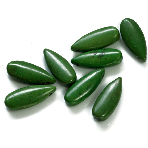GS-003 Olive Green Howlite ( Imit ) Teardrops 10 x 25 mm - Jewellery Making Supply - Kalitheo Jewellery