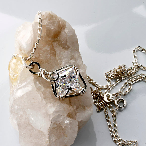KTC-128 Sterling Silver Wire Wrapped Pendant and Chain - Kalitheo Jewellery