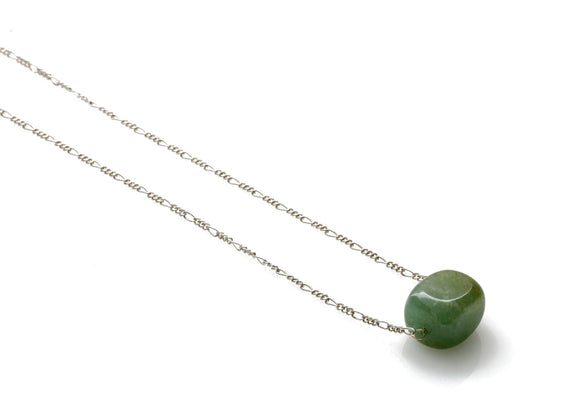 Sterling Silver 925 Chain with Jade Nugget - Handmade Jewellery - KJ-021 - Kalitheo Jewellery