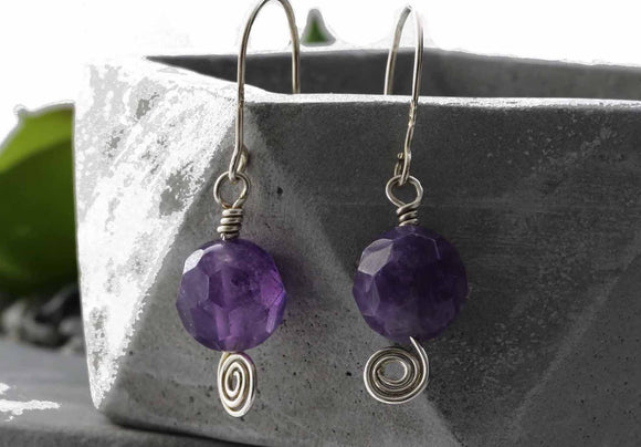 KJ-015 Amethyst Earrings Silver 925 Spiral - Kalitheo Creations