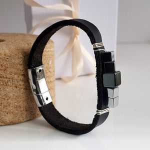 Black Leather Band with Haematite wrapped Mens Bracelet | KJ-287B | Unisex Jewellery - Kalitheo Jewellery