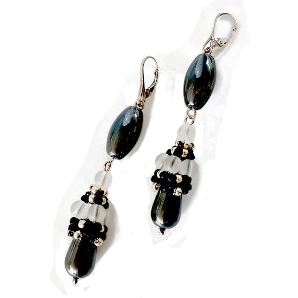 Calming Princess Earrings - Beaded Cap Haematite Long Dangle | KJ-371E | Handmade Earrings - Kalitheo Jewellery