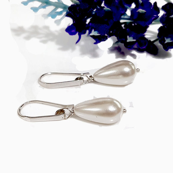 Dew Drop - Bridal Jewellery Collection -Teardrop Shell Pearl  | KJ-376E Handmade Earrings - Kalitheo Jewellery
