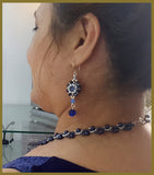 KJ-378N Swarovski Dark Blue Pearl Beaded Necklace - Kalitheo Creations