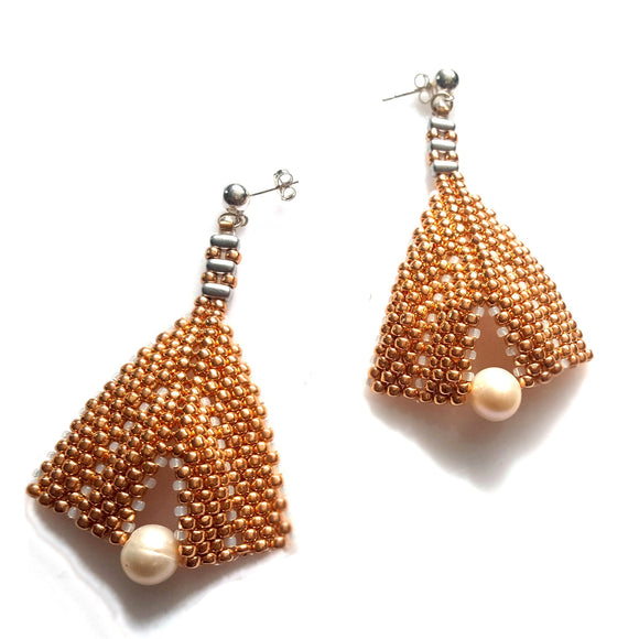 Goddess Leaf Earrings - Rose Gold Beaded | KJ-386E/RG | Designer Artisan Earrings - Kalitheo Jewellery