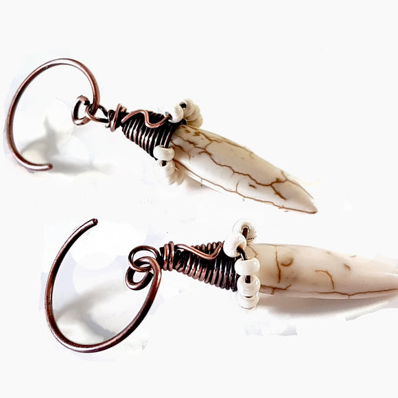 White Howlite Spike Earrings | (KJ-395E | Artisan Earrings - Kalitheo Jewellery
