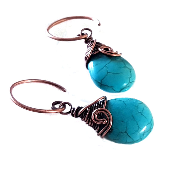 Turquoise Blue Howlite Earrings | KJ-396E | Artisan Earrings - Kalitheo Jewellery