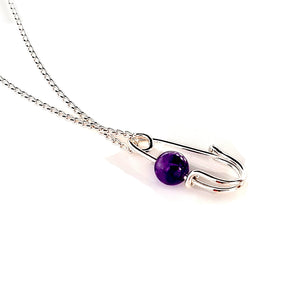 Quality Fine Silver 999 & Amethyst Artisan Pendant | Kalitheo