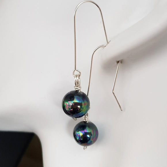Deep Blue-Green Pearl Dangle Earrings