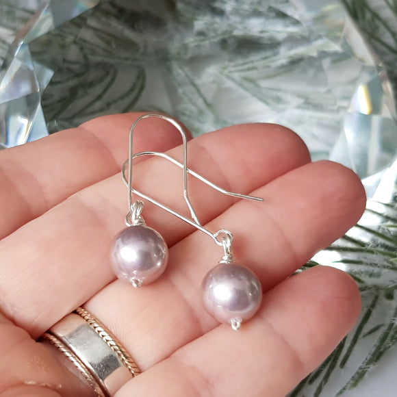 Innocent Pink Pearl Dangle Earrings