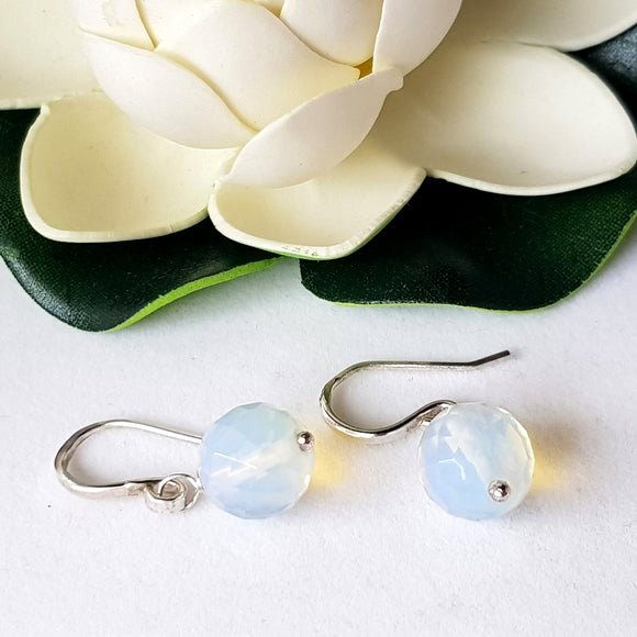 Sterling Silver Jelly Opal Dangle Earrings | Kalitheo Jewellery