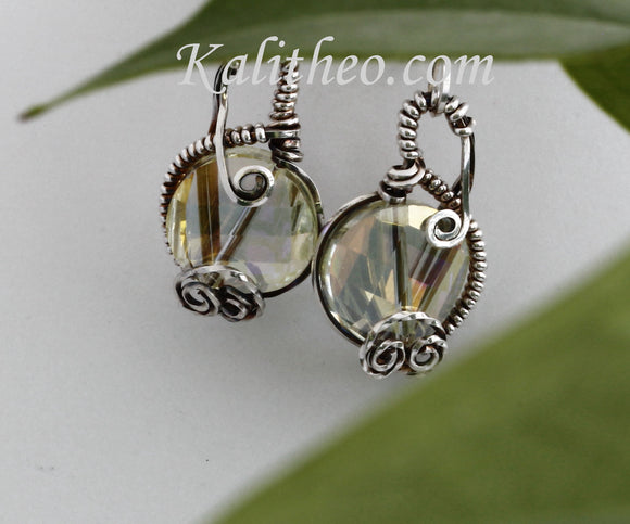 KTC-111 Gorgeous Oxidised Sterling Silver Drop Earrings - Kalitheo Creations