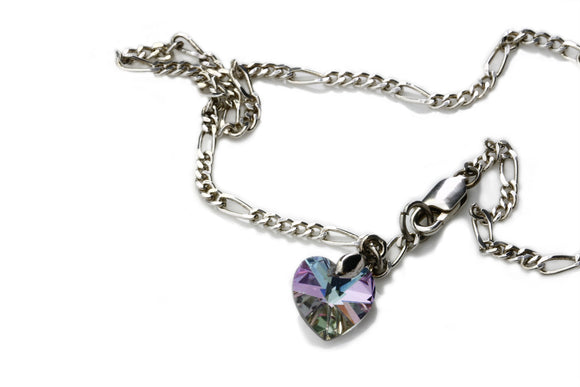 KTC-129 Anklet - Sterling Silver and Swarovski heart - Kalitheo Jewellery