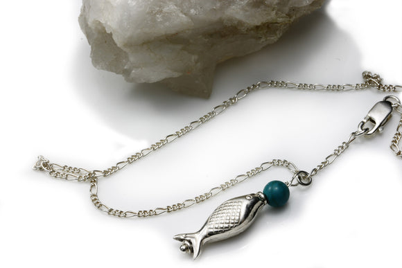 Anklet- Sterling Silver Fish and Turquoise Handmade KTC-134 - Kalitheo Creations