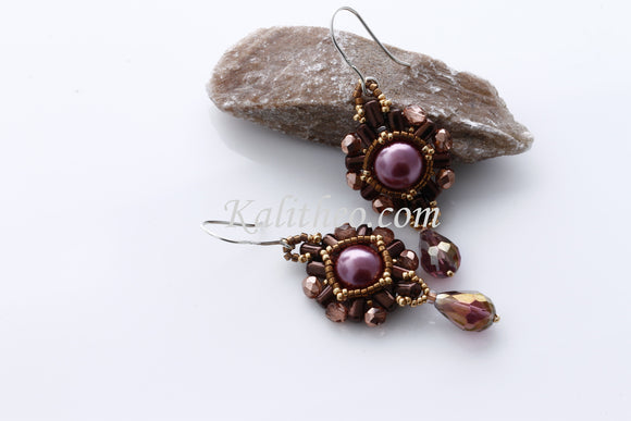 KTC-215 Beaded Pearl Dangle Earrings - Kalitheo Jewellery