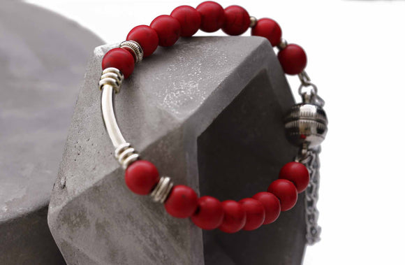 On grey - KTC-232 Red Howlite Bracelet - Kalitheo