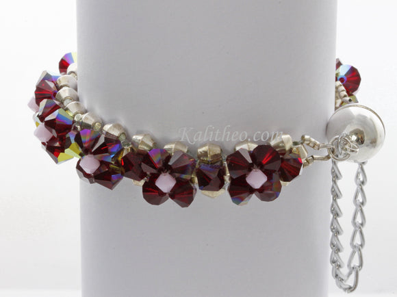 KTC-255 Ruby Red Swarovski Beaded Bracelet.. - Kalitheo Creations