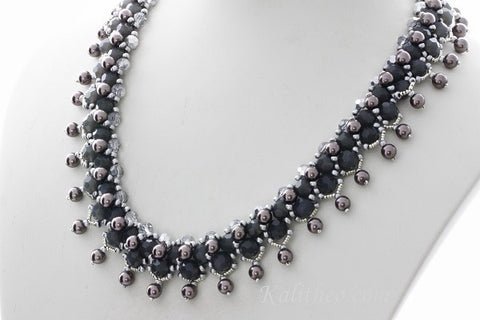 "Handmade ""Parisian Nights"" Beaded Necklace KTC-267 - Kalitheo Creations"