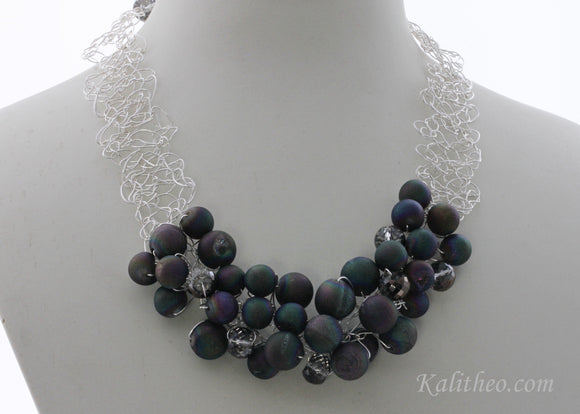 KTC-269 Agate Druzy Statement Necklace - Kalitheo Jewellery