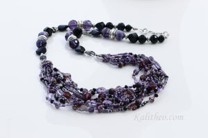 "KTC-285 ""Ariel Purple"" Boho Multi-strand Necklace - Kalitheo Jewellery"