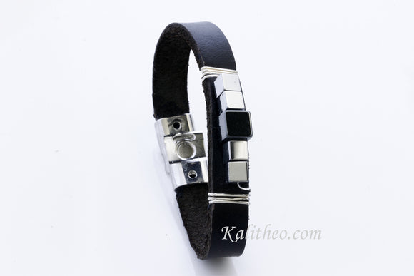 KTC-287 Unisex Bracelet Leather Medium 35%Off - Kalitheo Creations