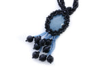 "KTC-293 ""Aquamarine Mystic"" Black  Necklace - Kalitheo Jewellery"