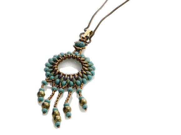 Circle of Life Turquoise Blue Pendant Long Necklace | KJ-296N/B | Artisan Necklace - Kalitheo Jewellery