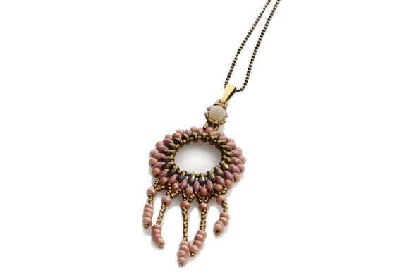 Circle of Life Pendant Deep Apricot Pink Long Necklace | KJ-296N/P - Kalitheo Jewellery