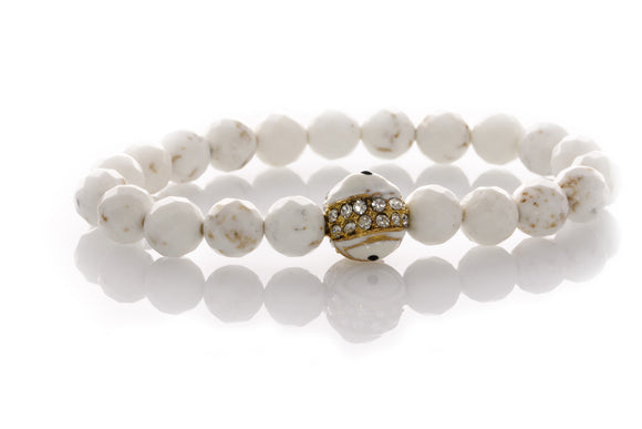 KTC-307 Howlite Gemstone Evil Eye Gold Bracelet - 40%Off - Kalitheo Jewellery