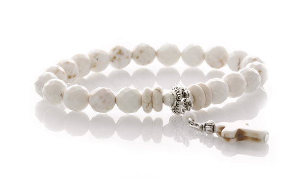 KTC-309 Howlite Gemstone Bracelet with Dangle Cross - 40%Off - Kalitheo Jewellery