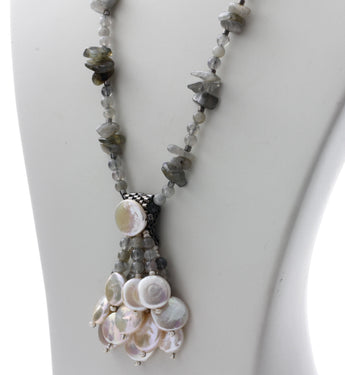 Close-Up - Freshwater Coin Pearls with Labradorite Gemstone Necklace KTC-327 - Kalitheo Creations