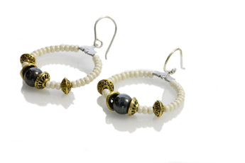 Laying down - Fun Hoop Earrings with Hematite  - KTC-332 - Kalitheo Creations