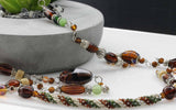 KTC-354 Long Necklace Honey Brown Tones. - Kalitheo Jewellery