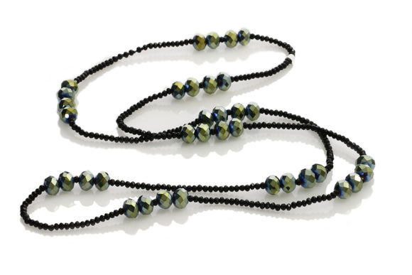 KTC- 325 Green Iridescent Large Crystals Long Necklace - Kalitheo Creations