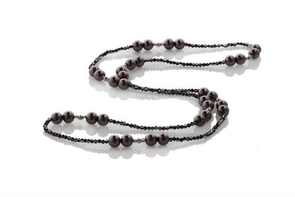 KTC-323 Glass Pearl Burgundy and Crystal Long Necklace - Kalitheo Creations