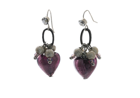 Hanging - Glass Foil Heart Dangle Earrings - KTC-335 - Kalitheo Creations