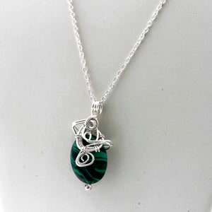 KJ-003 Malachite Wire Wrapped Pendant - Kalitheo Jewellery