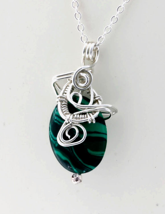 KJ-003 Malachite Wire Wrapped Pendant - Kalitheo Creations