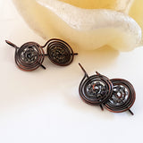 Oxidized Copper Wire Earrings | (KJ-401E) Handmade Earrings - Kalitheo Jewellery