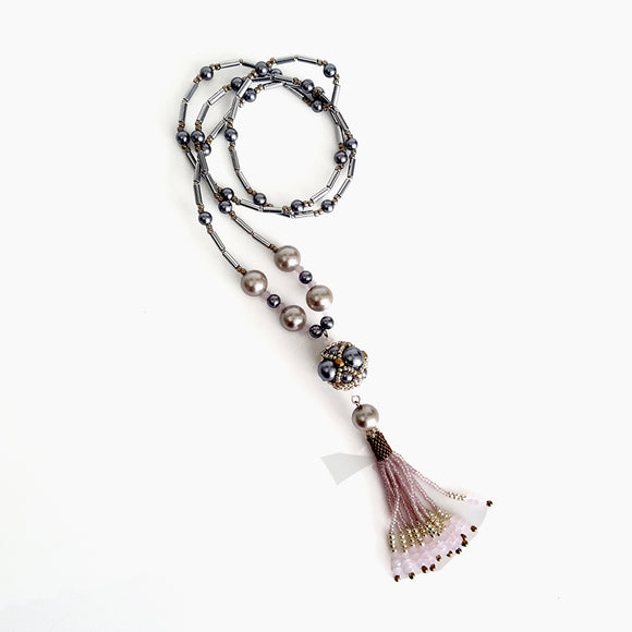 The Enchanted Ball - Pink Beaded Tassel Statement Necklace | KJ-390/PIN Handmade Necklace - Kalitheo Creations