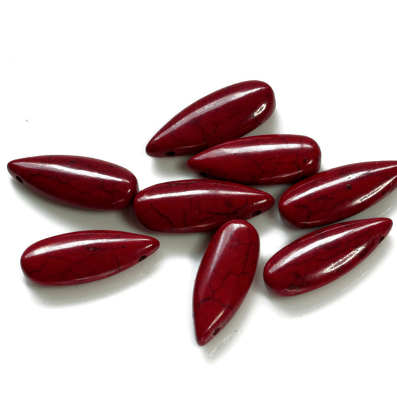GS-002 Red Howlite ( Imit ) Teardrop 10 x 25 mm - Jewellery Making Supply - Kalitheo Creations