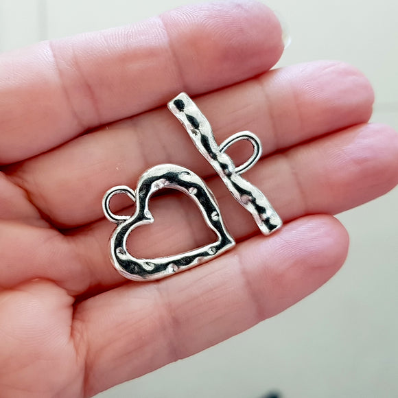Bright Silver Large Heart Toggle Clasp | FBM-009TC | Jewellery Supply,  Kalitheo BeadsNWire,