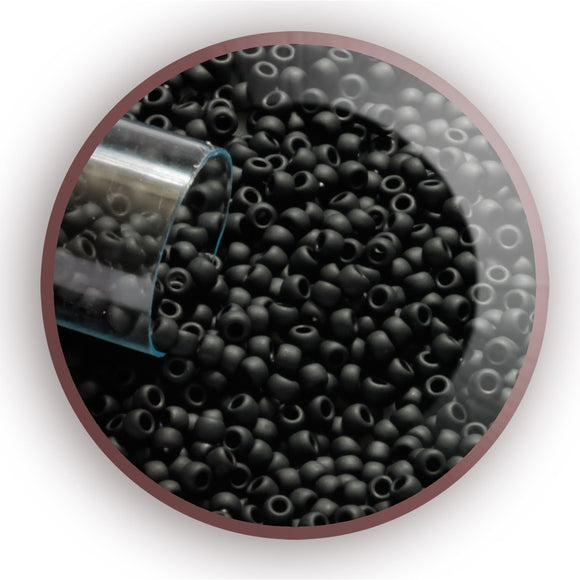 Round Toho Seed Beads - Jet Opaque Matte - Size 11/0 - Kalitheo