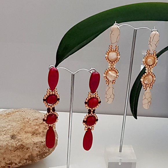 Red or White Statement Beaded Earrings | (KJ-392E) Handmade Earrings - Kalitheo Creations