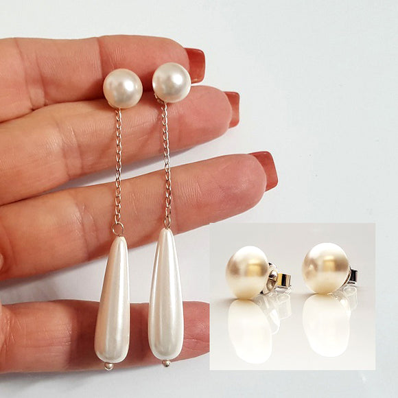 White Shimmer -  Swarovski Pearl Studs & Shell Pearl 2-Way Long Dangle | KJ-389E Handmade Earrings - Kalitheo Jewellery
